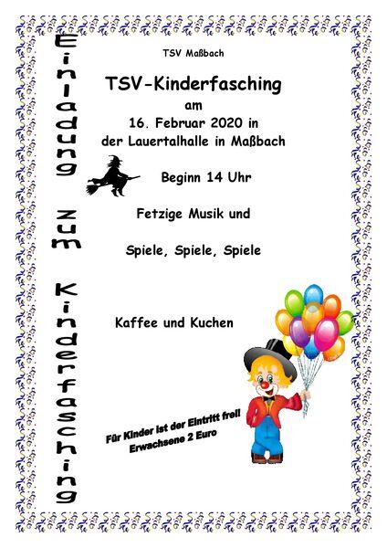 Kinderfasching Plakat 2020